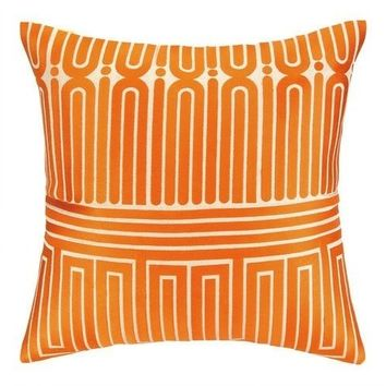 Orange Garden Maze Throw Pillow