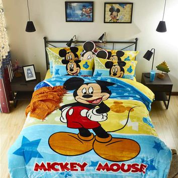 Disney Mickey Mouse 3D Printed Flannel Bedding Set Twin Full Queen Size Bed Covers Children's Boy Bedroom Decor Winter Soft Warm