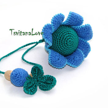 Children's toy - Rattle - Blue Flower - First toy for your baby - teether - Teething Toy