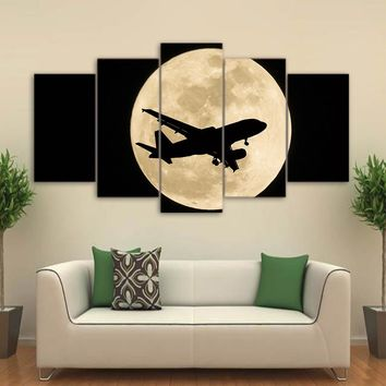 Jet Airplane Moon Night Wall Art on Canvas Panel Picture Print Framed UNframed