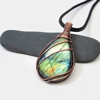 OOAK Wire wrapped Labradorite necklace, green fire stone pendant, copper wire wrap, black leather necklace, unique necklace for women