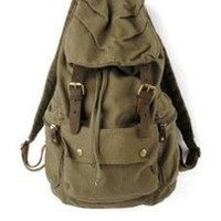 Green Canvas Leather Hiking Travel Rucksack Backpack premium