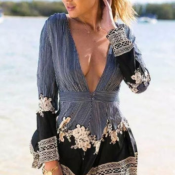 Stripe Floral Print  V-neck Long Sleeve  Romper