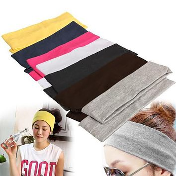 Yoga Hair Bands Sport Elastic Headband 2PCS Sports Yoga Accessory Dance Biker Wide Headband Stretch Ribbon Cotton Hairband