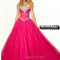 Sweetheart Beaded Tulle Ball Gown Paparazzi Prom Dress By Mori Lee 97002
