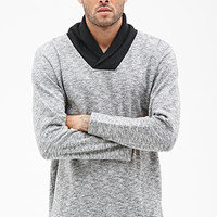 Marled Shawl Collar Pullover Black/Cream