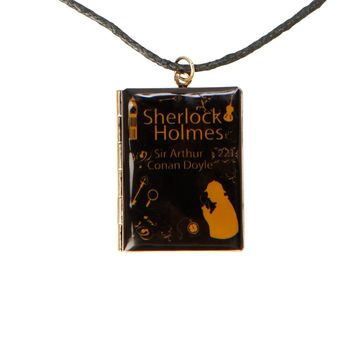 Licensed cool SHERLOCK HOLMES Detective HINGED OPENING BOOK Black CORD NECKLACE LoveSick NEW