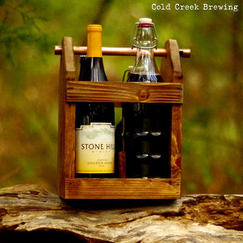 Bomber Carrier - Four Pack Carrier - Beer Bottle Carrier - Bottle Opener - Wine Tote - Wine Bottle Caddy - Gift for Parents - Groomsmen Gift