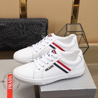 Best Quality Prada Mens Fashion 2020 New Embroidery LEATHER black white Low Top Boots Casual Sneaker Running sport Shoes
