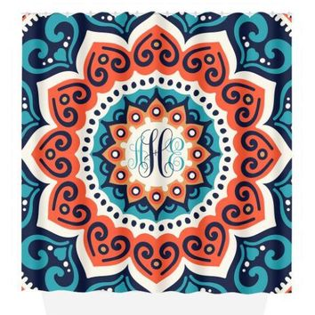 Mandala SHOWER CURTAIN, Blue Coral, Circle Pattern, Custom MONOGRAM Personalized Bathroom Decor Bath Towel,  Bath Mat