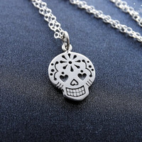 Silver Sugar Skull Necklace Day of the Dead Jewelry Gold Mexican Sugar Skull Pendant Gift Ideas for Her Sterling silver Necklace