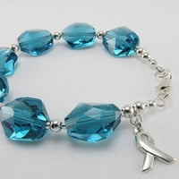 Ovarian Cancer Bracelet Teal Awareness by beadedembellishments
