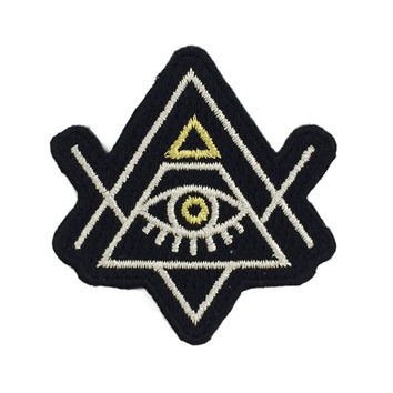 All-Seeing Eye Embroidered Patch / Iron-On Applique - Evil Eye - Pyramid
