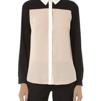 Black Apricot Color Block Blouse