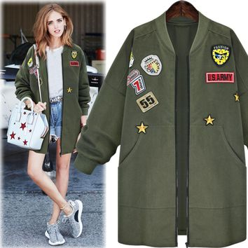 Kenancy Plus Size 5XL Bomber Jacket Coat Women Spring Autumn Long Sleeve Badge Patches Embroidered Army Green Long Outwear Coat
