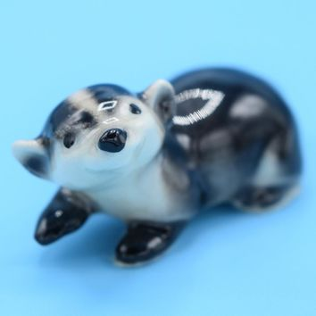 Ceramic Miniature Badger Figurine Vintage Porcelain Glazed Badger Cake Topper Shadowbox Figurine Windowsill Office Desk Figure Gift for Her