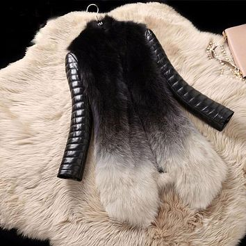 Real Fox Fur and Leather Winter Parka