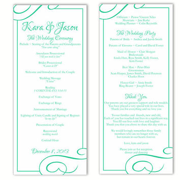 Wedding Program Template DIY Editable Text Word File Download Program Aqua Wedding Program Blue Program Printable Wedding Program 4x9.25inch