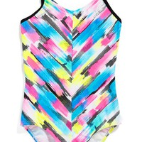 Girl's Gossip Girl 'Rainbow Checkers' One-Piece Swimsuit,