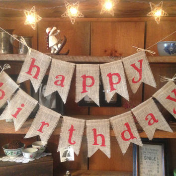 Burlap Happy Birthday Bunting In Red, Birthday Bunting, Happy Birthday,  Birthday Garland, Birthday Banner, Burlap Bunting, Burlap Garland