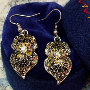 Portugal folk Viana hearts earrings rhinestone small dangle Portuguese jewelry art