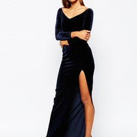 Missguided Velvet Bardot Maxi Dress With Thigh Split