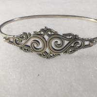 7in Retired signed James Avery sterling silver bracelet ornate scroll design