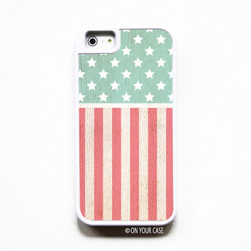 iPhone 5 Case. iPhone 5S Case. Silicone Lined Tough Case - Wood Grain Americana