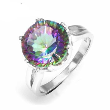 5.6ct Mystic Fire Rainbow Topaz Engagement Ring Unique Round Ring