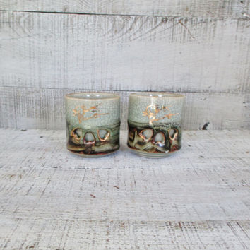 Vintage Asian Teacups Japanese Ceramic Sake Cups Double Wall Somayaki Tea Cups Gold Horse Insulated Soma Ware Japanese Pottery
