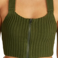 Promo- Olive Keep it Short Crop Top