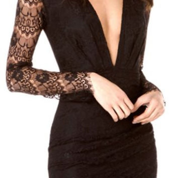 Black Lace Long Sleeve Plunging Neckline Bodycon Dress