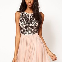 Lipsy Cornelli Look Skater Dress at asos.com