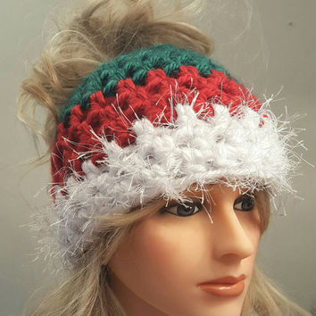 Christmas bun hat. Made by Bead Gs on ETSY.  Ladies Size.