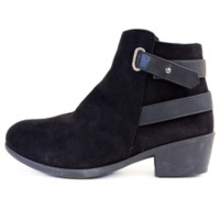 Black Faux Suede Ankle Boots With Strap Accent