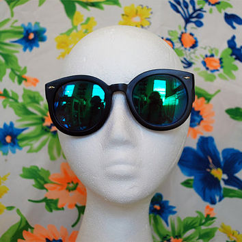 SALE - Vintage Tortoise Huge Circle Sunglasses Retro Hippie Mirror Glasses  - Ginny