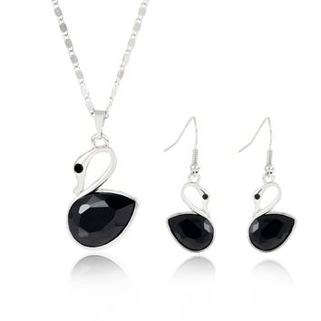 ZOSHI Brand Jewelry Set Fashion Black Crystal Swan Pendants & Necklaces Silver Plated Chain Drop Earrings For Women Jewelry Sets