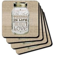 3dRose cst_128507_1 Mason Jar on Burlap Print Brown-The Best Things in Life are Made with Love-Gifts for The Cook-Soft Coasters, Set of 4