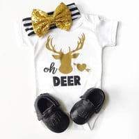 oh deer Onesuits®, oh deer, oh DEER baby girl Onesuit, Oh Deer Onesuit for little girl, newborn oh deer bodysuit, oh deer Onesuit newborn girl
