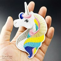 Unicorn (Size:6.7X11.7cm) DIY Cloth Badges Patch Embroidered Applique Sewing Patches Clothes Stickers Apparel Accessories