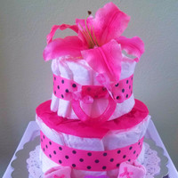 Pink Lily Diaper Cake for Girls