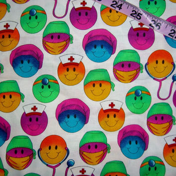 Scrubs fabric smiley faces medical office nurse assistant Timeless Treasures 1yd cotton quilting sewing material by the yard