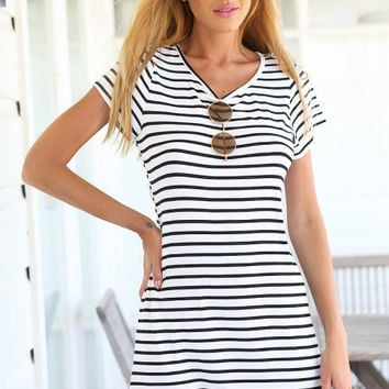 Stripe Short-Sleeve Dress Shirt