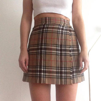 90s checked grid 00S grunge plaid tennis wrap pleated skirt high waisted mini skirt woolrich tumblr tartan indie kilt pleat skirt vintage