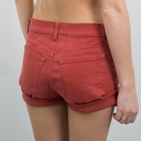 Vintage (Size XS) Burnt Orange High Waisted Denim Shorts