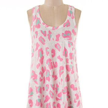 Leopard Print Racer Back Tank Top - Hot Pink and White