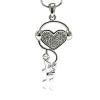 PammyJ Heart Wearing Headphones with Music Notes Silvertone Pendant Necklace, 18""