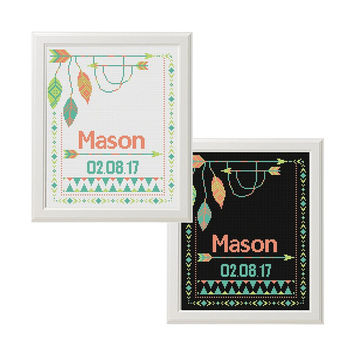 Cross Stitch baby birth announcement Record chevron Neutral color new baby boy  girl Cross Stitch pattern Arrows Feather native ethnic Boho
