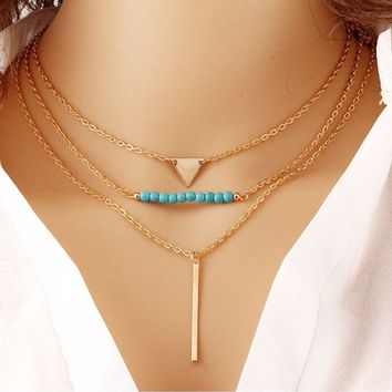 ONETOW Multi - layer geometric triangle turquoise pendant necklace temperament wild metal chain clasp chain jewelry