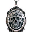 """Women's """"Sugar Skull"""" Cameo Necklace by Diamonds And Coal (Black)"""